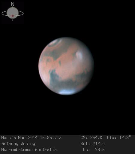 Anthony Wesley in Australia captured this marvelous image of Mars on March 6, 2014.