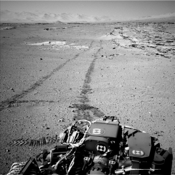 NASA's Curiosity Mars rover used the Navigation Camera (Navcam) on its mast for this look back after finishing a drive of 328 feet (100 meters) on the 548th Martian day, or sol,