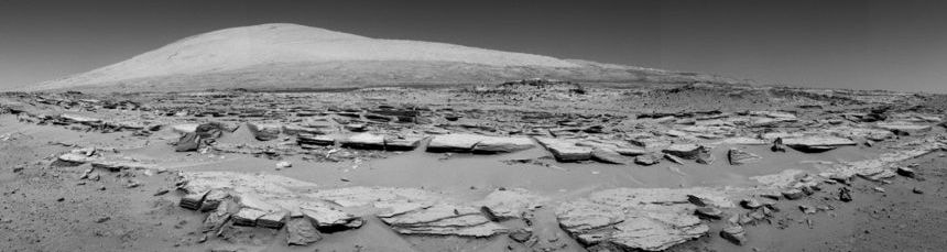 Forward view of Mars Curiosity rover on February 19, 2014 - Sol 548 - or 548th day of the rover's work on Mars.   Image via NASA.