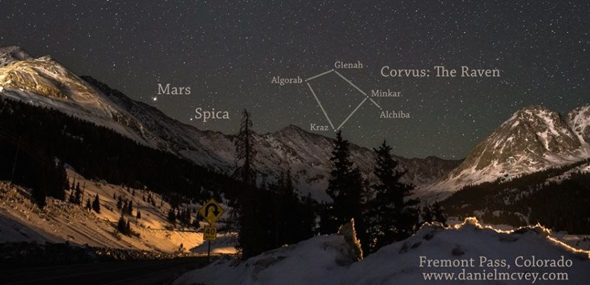 Daniel McVey captured this image of planet Mars and star Spica on March 26, 2014.