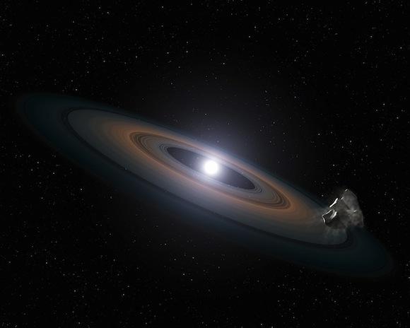 Artist's impression of debris around a white dwarf star. Credit: NASA, ESA, STScI, and G. Bacon