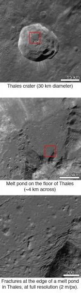 Close-ups of Thales crater reveal increasing levels of detail.  Image via NASA/GSFC/Arizona State University