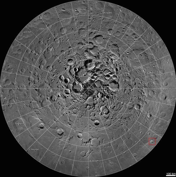 View larger. | A new 680-gigapixel interactive mosaic from NASA's Lunar Reconnaissance Orbiter covers the north pole of the moon from 60 to 90 degrees north latitude.