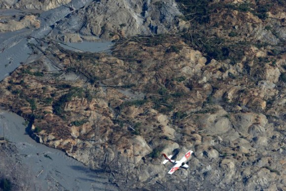 The Oso, Washington mudslide as viewed from the air on March 24, 2014.  Photo by Ted S. Warren via the Concord Monitor.