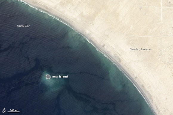 A new island formed off the coast of Pakistan after a 7.7 magnitude earthquake on September 24, 2013. Image Credit: NASA.