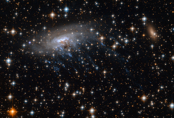Spiral galaxy ESO 137-001 as seen by the Hubble Space Telescope.