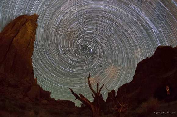 Vortex star trails at Arches National Park?.  Photo captured and processed by Sergio Garcia Rill.