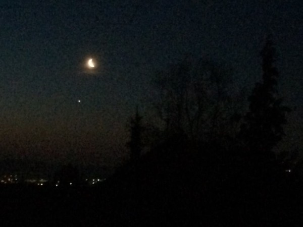 Amanda Donaho captured the moon and Venus on March 27, 2014 from Germany.