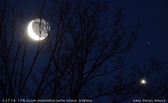 GregDiesel Landscape Photography captured the moon and Venus on March 27.   Visit his online gallery.