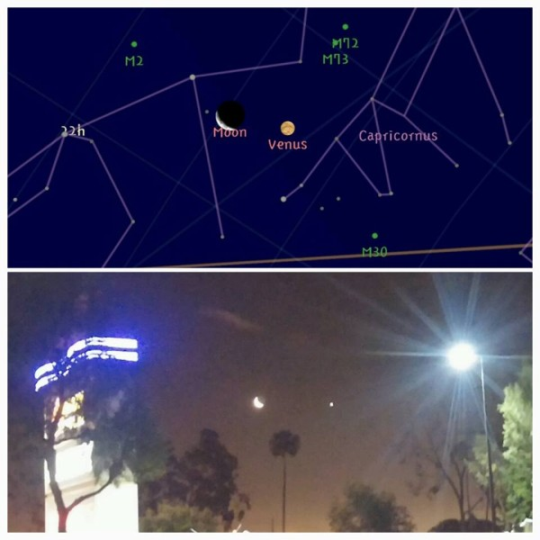 Hector Zuniga shows us where this morning's moon and Venus appeared in front of the stars.