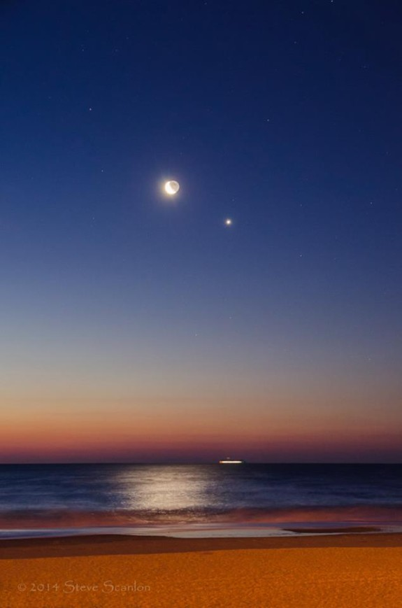 Steve Scanlon Photograhy caught the moon and Venus from the U.S. Jersey shore, overlooking the Atlantic.  More photos by Steve Scanlon.