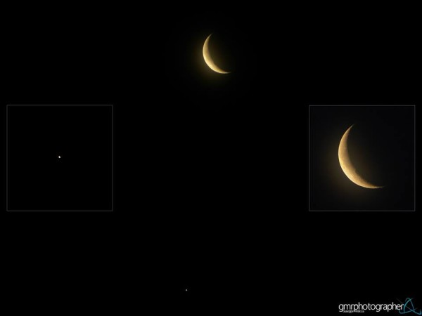 Giuseppe M.R. Petricca caught the moon and Venus on March 27 from Pisa, Italy, and created this mosaic.