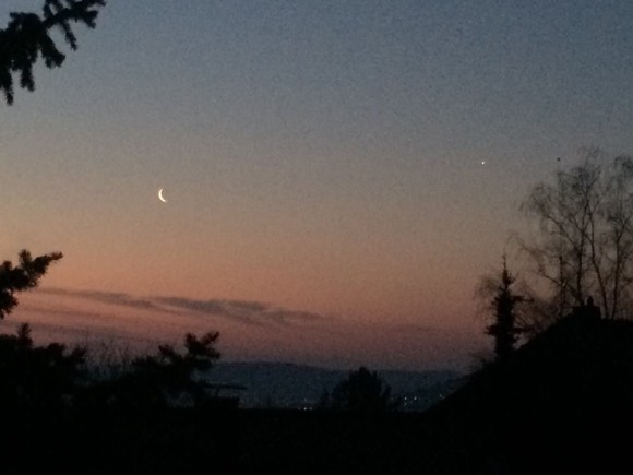 The moon and Venus, a5:30 a.m. on March 28. Germany, by Amanda Donaho