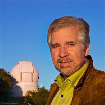 UCSC astronomer Steve Vogt, seen here with the APF dome in the background, led the $12 million APF project. (Photo by Laurie Hatch)