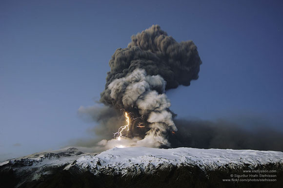 Volcanic lightning above Eyjafjallajokull in Iceland during a 2010 eruption. Image appears courtesy of Sigurdur Stefnisson.