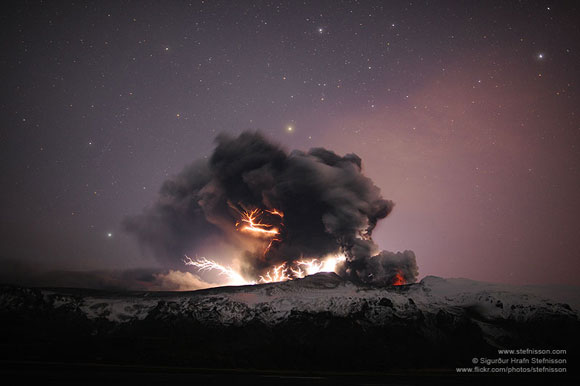 Volcanic lightning under the starry sky at Eyjafjallajokull in Iceland during a 2010 eruption. Image appears courtesy of Sigurdur Stefnisson.