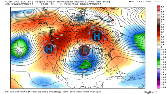 GFS 500 mb geopotential heights. Image Credit: Weatherbell