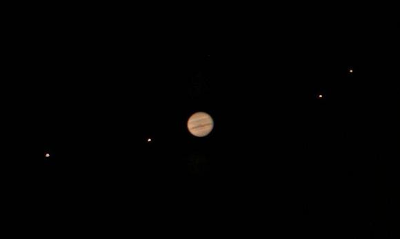 Jupiter's moons as seen through the telescope. Image credit: Jan Sandberg
