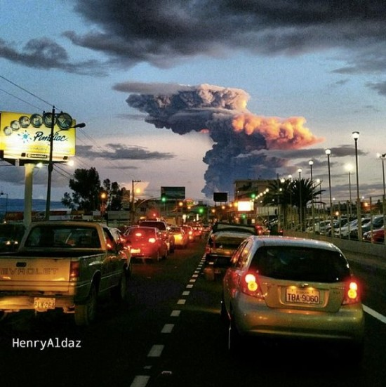 Tungurahua volcano on April 4 via Henry Aldaz.  See more awesome photos of the April 4 eruption at rt.com.