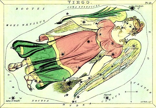 Antique drawing of a young woman with wings in long red and green dress.