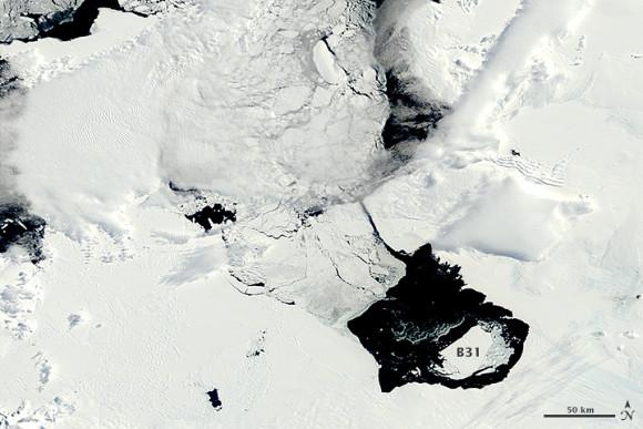 The ice island B31 - __ square miles in diameter (over 600 square kilometers) - broke away from Pine Island Glacier in November 2013.