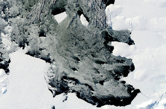 B31 is a huge ice island, currently floating in the Admunsen Sea.  It's excepted to cross into the Southern Ocean soon.  Credit: NASA images by Jeff Schmaltz, LANCE/EOSDIS Rapid Response. Caption by Michael Carlowicz.