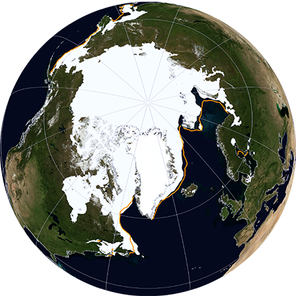 Arctic sea ice maximum on March 21, 2014.  Image via NASA.