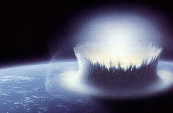 Artist's concept of asteroid collision via NASA