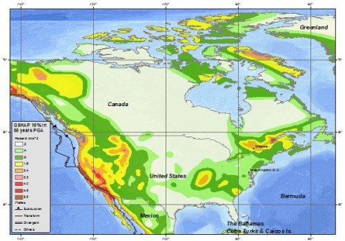 Seismic hazard map, via USGS.  Read more about the Ring of Fire.