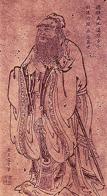 Ancient Chinese drawing of Confucius, old bearded man in Chinese costume.