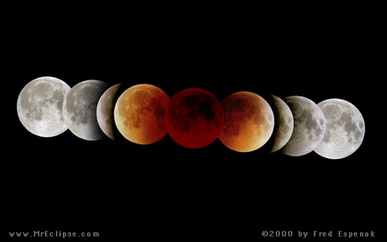 Total lunar eclipse mosaic by eclipse master Fred Espenak. Visit his page for the April 14-14 eclipse.