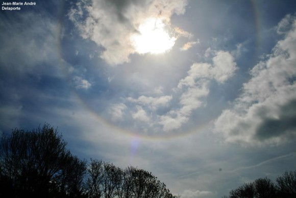 EarthSky Facebook friend Jean Marie Andre Delaporte captured this image of a halo around the sun in Normandy, France on April 23, 2014.