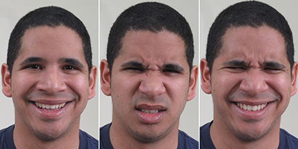Here, a study participant makes three faces: happy (left), disgusted (center), and happily disgusted (right). Researcher Aleix Martinez described