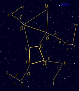 Outlines of constellation with parallelogram in center in heavier lines.