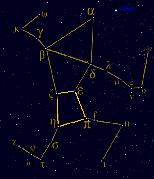 The constellation Hercules, with its prominent Keystone asterism marked.  This image is from Wikimedia Commons.  Go there to read about the star names in this constellation.