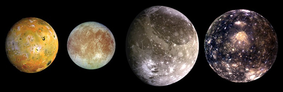 The Galilean moons, in their order going outward, from Left to right: Io, Europa, Ganymede and Callisto