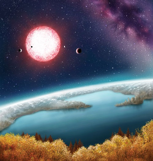 The artist's concept depicts Kepler-186f, the first validated Earth-size planet orbiting a distant star in the habitable zone—a range of distances from a star where liquid water might pool on the surface of an orbiting planet. The discovery of Kepler-186f confirms that Earth-size planets exist in the habitable zone of other stars and signals a significant step closer to finding a world similar to Earth. The artistic concept of Kepler-186f is the result of scientists and artists collaborating to help imagine the appearance of these distant worlds. Art Credit: Danielle Futselaar.