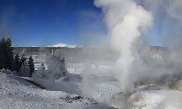 File photo of Norris Geyser Basin, near the epicenter of the magnitude 4.8 earthquake that rattled Yellowstone National Park in Wyoming on March 30, 2014.  Photo by Jim Peaco / National Park Service / November 22, 2013.  Via LA Times.