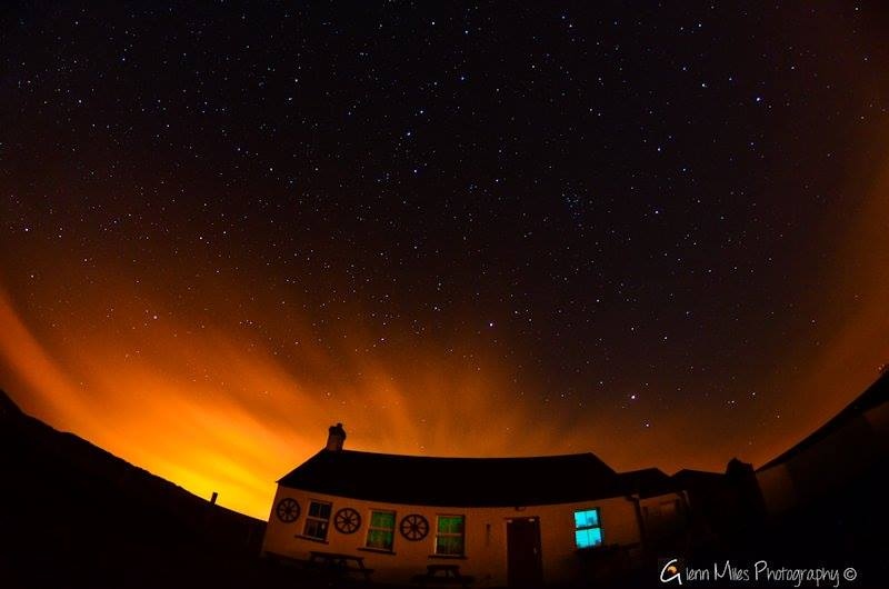 Mars over Northern Ireland coast