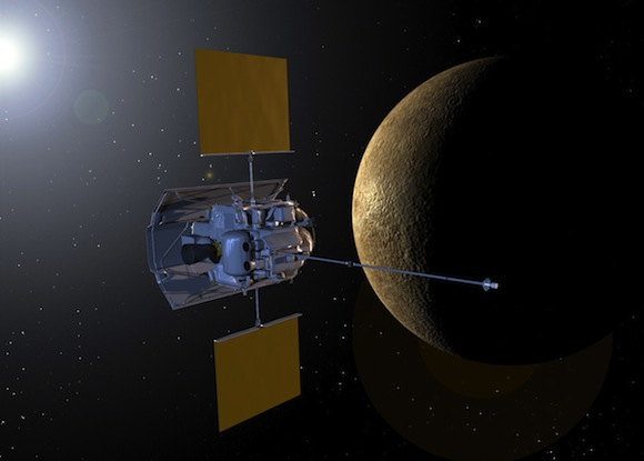 This artist's impression shows NASA's Mercury-bound MESSENGER spacecraft from the instrument side. The instruments on the Mercury orbiter are shielded by a ceramic cloth sunshade. Image Credit: Johns Hopkins University Applied Physics Laboratory