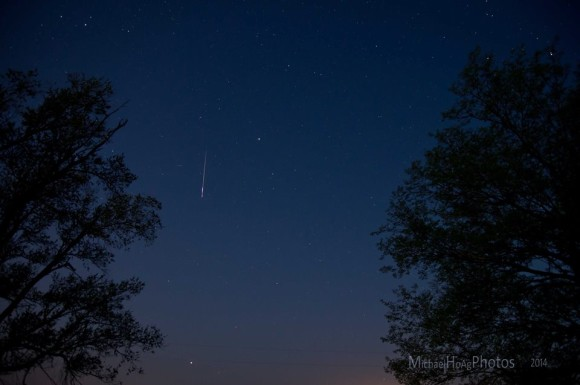 Mike Hoag in eastern Kansas caught this Lyrid meteor on the morning of April 22, 2014.  Thank you, Mike!