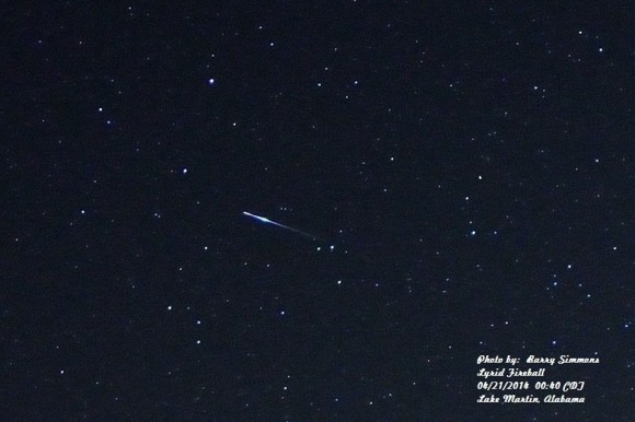 A bright Lyrid fireball, as captured on the night of April 20-21, 2014 by Barry Simmons.  Thank  you, Barry and Nanette.