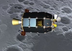 Artist's concept of LADEE over moon's surface, via NASA