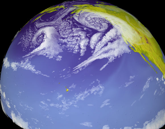 Model of the Pacific storm track. Image Credit: NOAA.