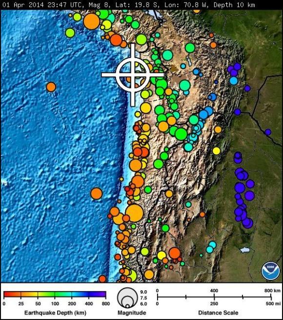 Preliminary depth and location of the 8.0 quake. Image Credit: Pacific Tsunami Warning Center