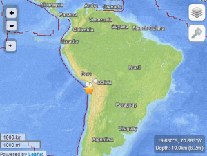 Location of the 8.0 Earthquake on April 1, 2014. Image Credit: USGS