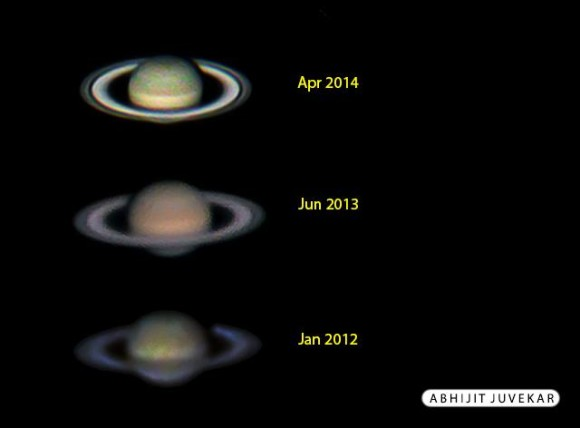 Saturn yearly observations comparison by Abhijit Juvekar. The rings are even more open in 2016, at a inclination of 26o on the opposition date of June 3, 2016.