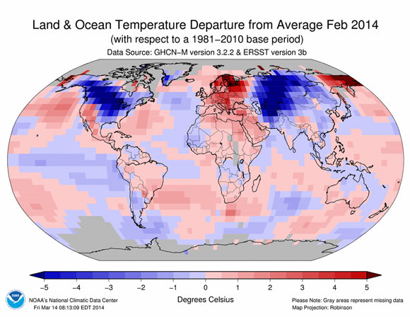 Temperature departures for February 2014. Image Credit: NOAA.