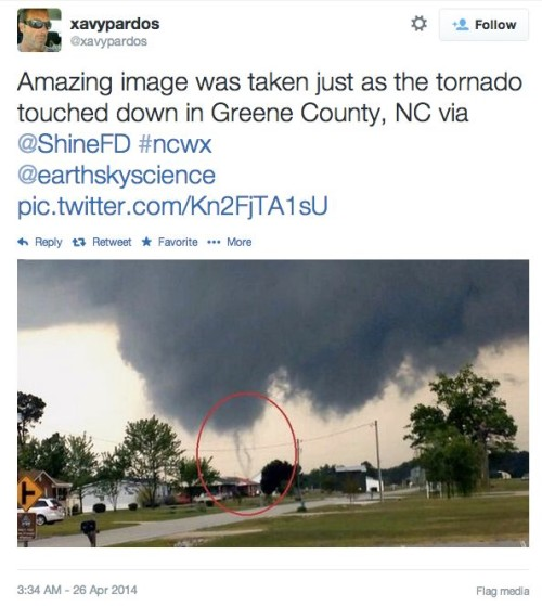 Tornados struck North Carolina on April 25, 2014, injuring 15 people and damaging hundreds of homes.  Read more from accuweather.