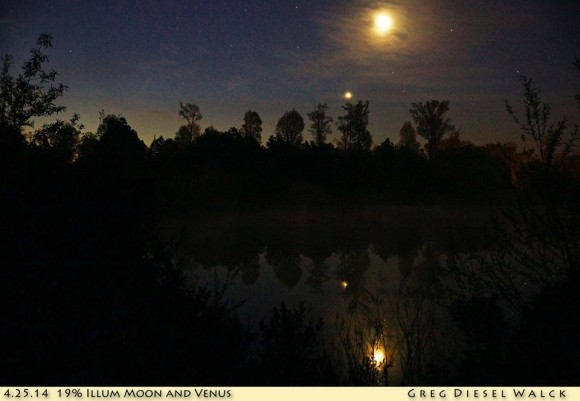 GregDiesel Landscape Photography caught the moon and Venus from Currituck, North Carolina on April 25.  Thank you, Greg!  Visit GregDiesel Landscape Photography.